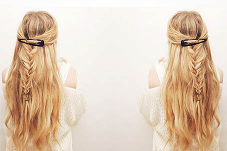 half-up clipped braid