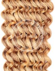 clip in kučeravé najsvetlejšia hnedá-svetlá blond 55 cm