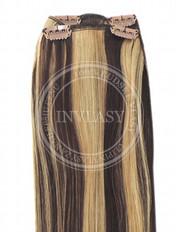 clip-in rychlopás stredne hnedá-zázvorová blond 51 cm