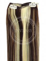 clip-in rychlopás stredne hnedá-svetlá blond 45 cm