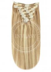 clip-in deluxe tmavá blond-stredná blond 45 cm | Invlasy.sk - clip in vlasy
