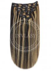 clip in vlasy čierna prirodzená-zázvorová blond 51 cm