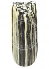 clip in vlasy čierna prirodzená-svetlá blond 61 cm