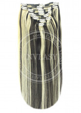 clip in vlasy čierna prirodzená-svetlá blond 55 cm | Invlasy.sk - clip in vlasy