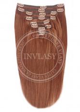 clip-in deluxe tmavo gaštanová 45 cm | Invlasy.sk - clip in vlasy