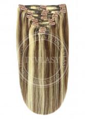 clip-in deluxe stredne hnedá-stredná blond 45 cm