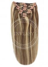 clip-in deluxe stredne hnedá-zázvorová blond 38 cm | Invlasy.sk - clip in vlasy