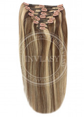 clip-in deluxe stredne hnedá-zázvorová blond 38 cm