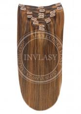 clip in vlasy stredne hnedá-svetlo gaštanová 45 cm
