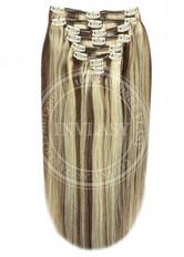 clip-in deluxe stredne hnedá-svetlá blond 61 cm