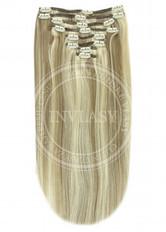 clip in vlasy svetlo popolavá hnedá-svetlá blond 51 cm