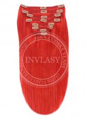 clip in vlasy červená 61 cm