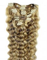 clipin vlasy vlnité najsvetlejšia hnedá-svetlá blond 45 cm | Invlasy.sk - clip in vlasy