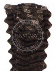 clipin vlasy vlnité tmavo hnedá 45 cm | Invlasy.sk - clip in vlasy