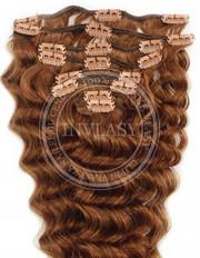 clipin vlasy vlnité svetlo gaštanová 45 cm | Invlasy.sk - clip in vlasy