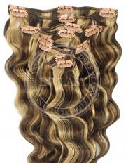 clipin vlasy vlnité stredne hnedá-zázvorová blond 45 cm