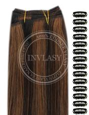 DIY čierna prirodzená-svetlo gaštanová 38 cm | Invlasy.sk - clip in vlasy
