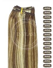 DIY stredne hnedá-stredná blond 38 cm | Invlasy.sk - clip in vlasy