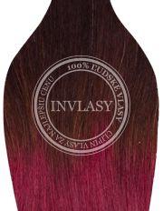 clip in ombré tmavo hnedá-slivkovo červená 61 cm